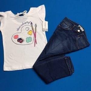 "Carters ""colorful"" shirt & Jordache skinny Jean"